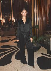 jumpsuit,all black everything,pants,blouse,top,shirt,instagram,shanina shaik,model off-duty