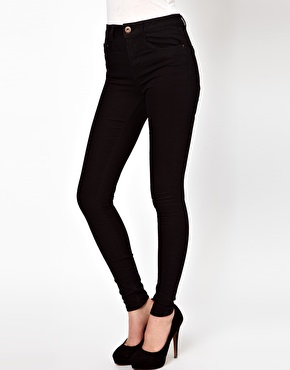 ASOS | ASOS Ridley Supersoft High Waisted Ultra Skinny Jeans in Clean Black at ASOS