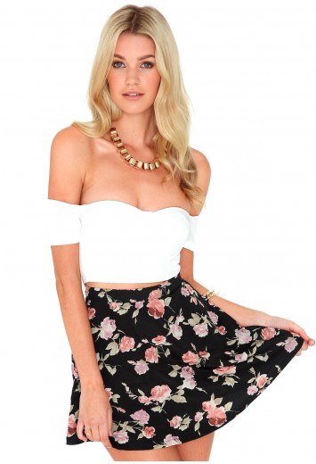 Taraja Rose Print Skater Skirt - Skirts - Missguided