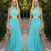 dress,gown,evening dress,prom dress,herjunction,slit,sky blue,herjunction.com,maxi dress,sky blue dress,slit dress,aqua,aqua dress,turquoise