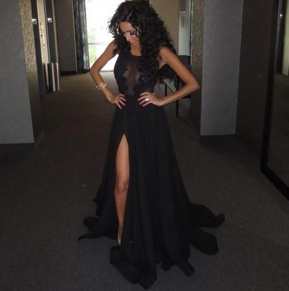 slit skirt sheer sheer dress