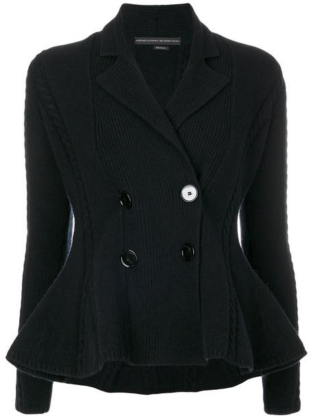 jacket double breasted women black wool