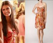 dress,elena gilbert,orange dress,the vampire diaries