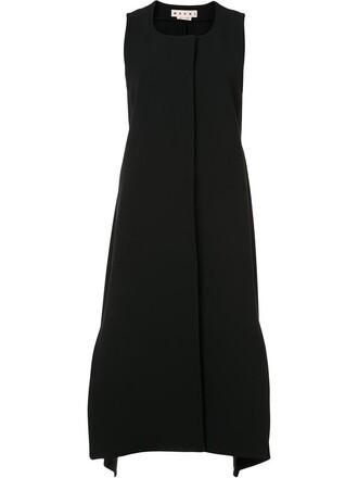 jacket sleeveless women draped cotton black wool