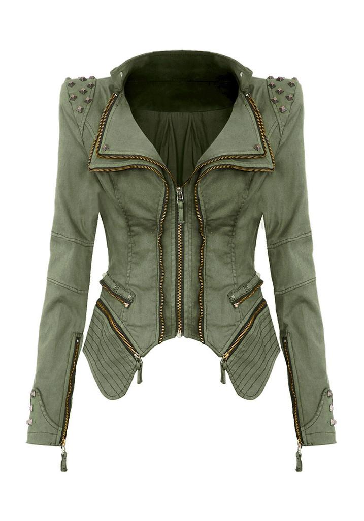 Studded Shoulder Denim Blazer Green Outfits Pedia
