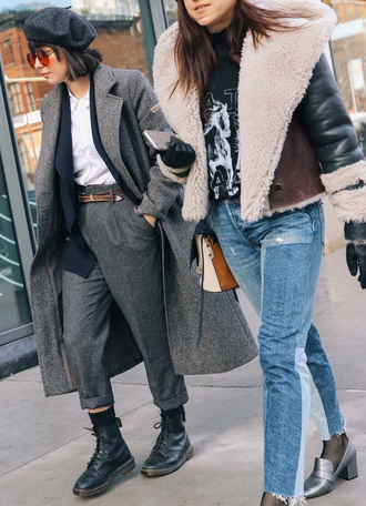 pants nyfw 2017 fashion week 2017 fashion week streetstyle grey pants cropped pants t-shirt white t-shirt coat grey coat boots black boots biker boots socks shoes pilgrim shoes high heel loafers denim jeans blue jeans patchwork shearling jacket shearling jacket leather gloves gloves