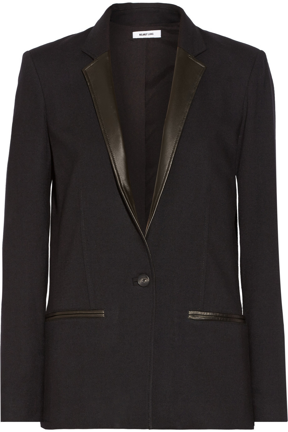 Helmut Lang Noa leather-trimmed cady blazer – 60% at THE OUTNET.COM