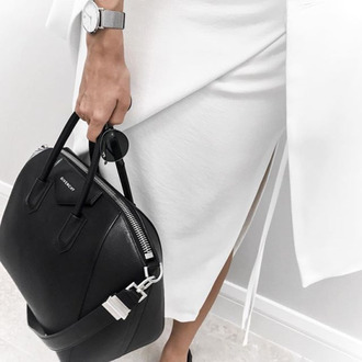 bag tumblr black bag givenchy givenchy bag handbag skirt slit skirt white skirt watch silver watch luxury
