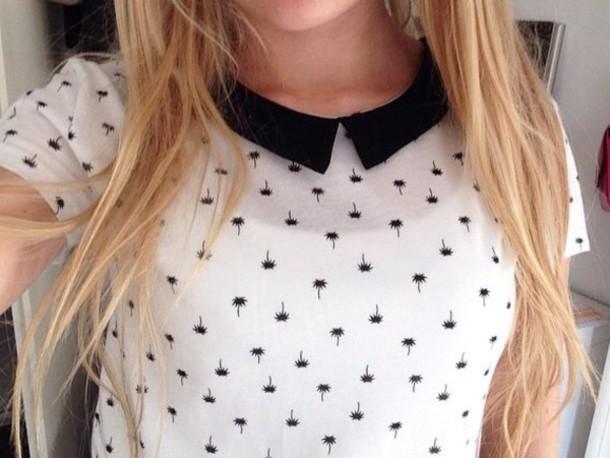 blouse white black katliciouss beautiful instagram blonde hair