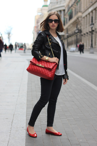 blouse say queen sunglasses shoes bag jacket jeans