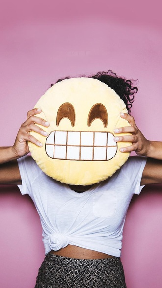 home accessory pillow smiley yellow