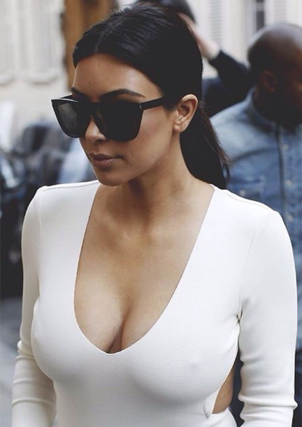 sunglasses black kim kardashian black sunglasses dress white dress white top kim kardashian