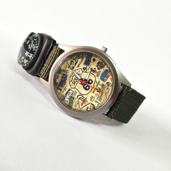 jewels boyfriend watch nylon strap compass watch usa watch map watch army green jewelry fashion style accessories gift ideas