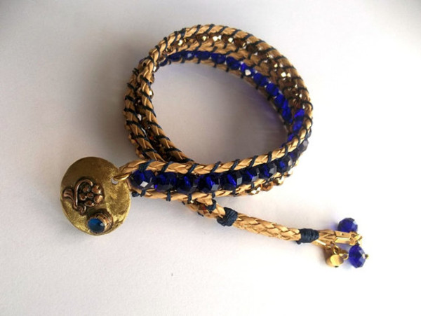 jewels wrapbracelet jewelry bracelets wrap dark blue boho spring spring outfits