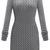 Grey Long Sleeve Cable Knit Sweater Dress - Sheinside.com
