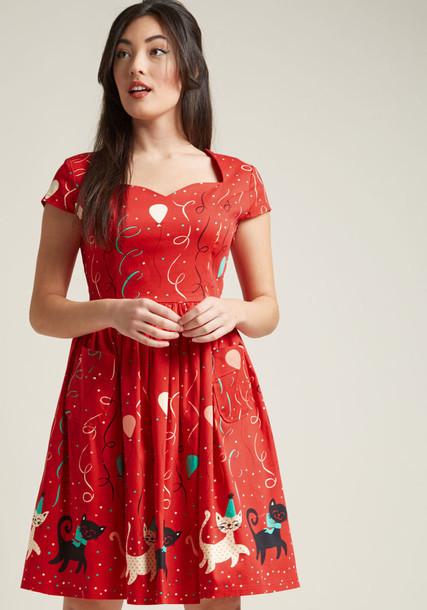DR5351 dress midi dress retro midi princess number cotton print red
