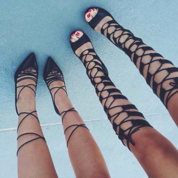 7aec407b1c79 shoes black heels sandals high heels heels strappy black mid calf  gladiators mid calf length stilettos