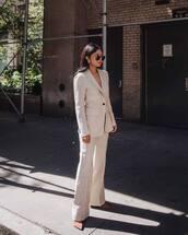 blazer,wide-leg pants,pants,cream,pumps,sunglasses,earrings