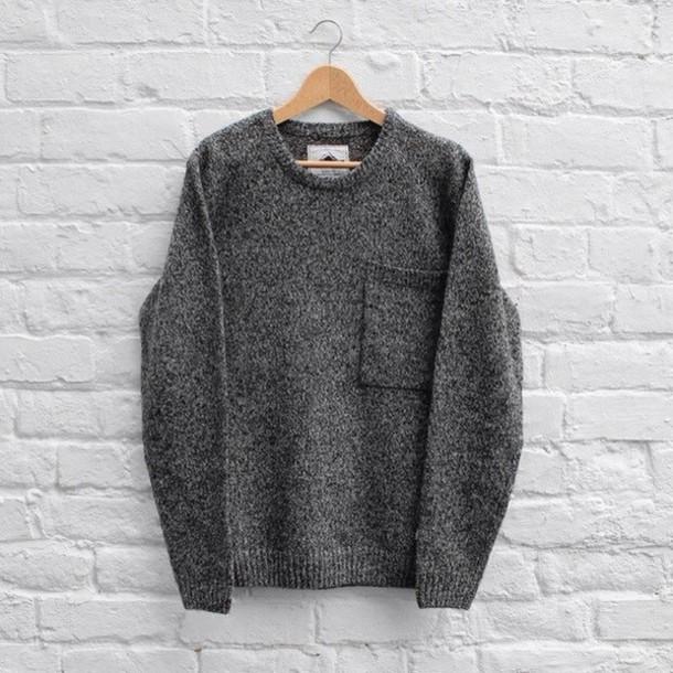 sweater grey sweater warm warm sweater winter sweater girly grey black knitted sweater
