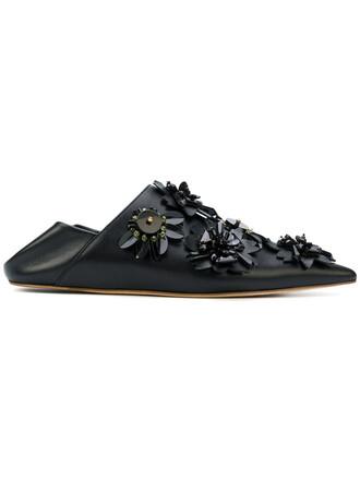 women mules floral leather black shoes