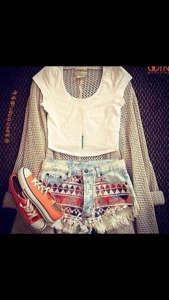 shorts printed shorts ripped shorts bleached faded shorts hipster sweater jewels shirt sunglasses aztec cardigan