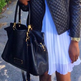 bag marc jacobs marc by marc jacobs leather jacket leather bag black chiffon dress white dress calvin klein