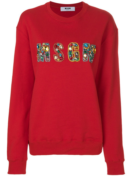 MSGM - bejewelled logo sweatshirt - women - Cotton - S, Red, Cotton