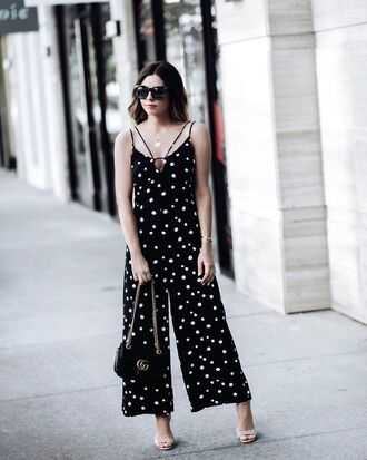 jumpsuit black jumpsuit tumblr wide-leg pants polka dots sandals sandal heels high heel sandals bag black bag sunglasses necklace shoes