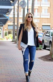 januaryhart,blogger,tank top,jacket,jewels,bag,shoes,fall outfits,cape,ankle boots,clutch,skinny jeans