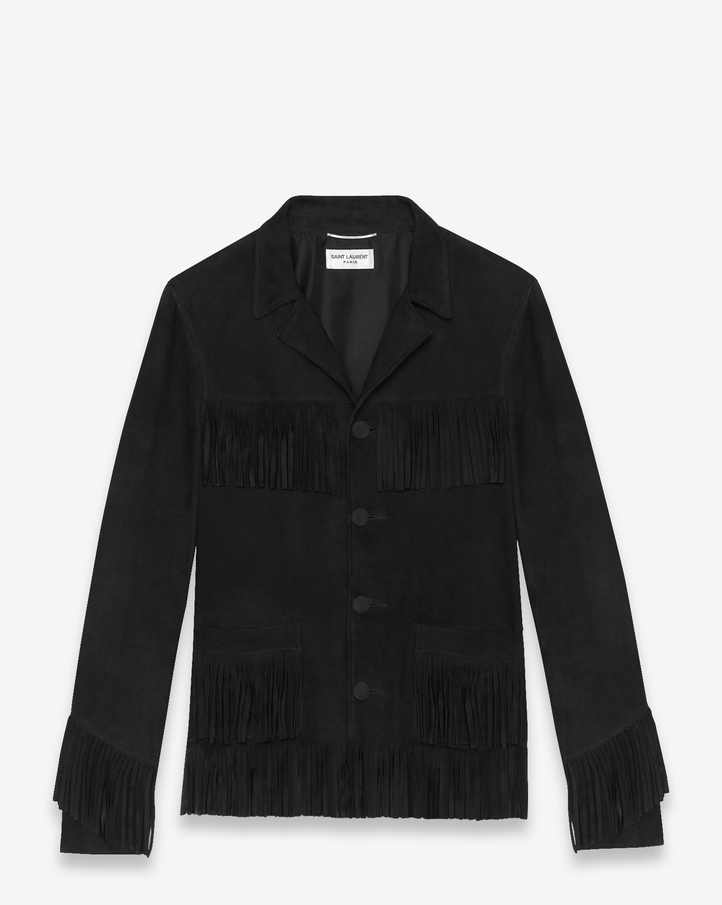 Saint Laurent Signature Western Fringe Jacket In Black Suede | ysl.com