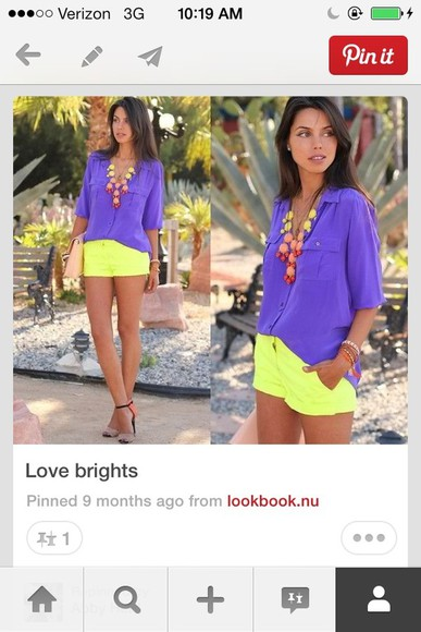 yellow shorts blouse purple top colorful jewels