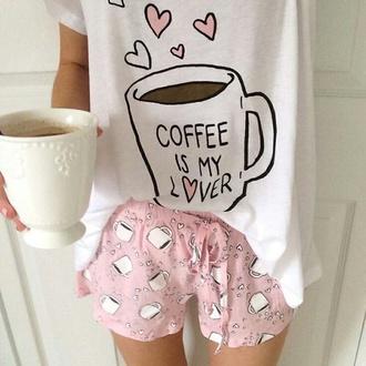 pajamas cute pajamas pink pajamas pink coffee coffee pajamas love kawaii shorts pink shorts pale pastel weheartit tumblr
