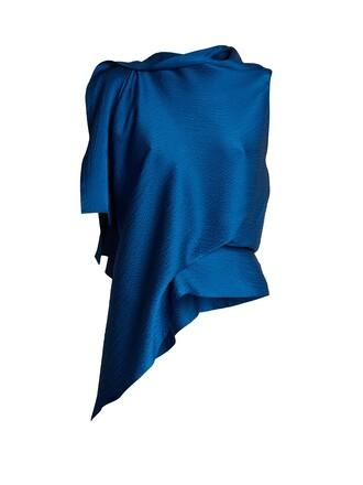 top draped silk satin blue
