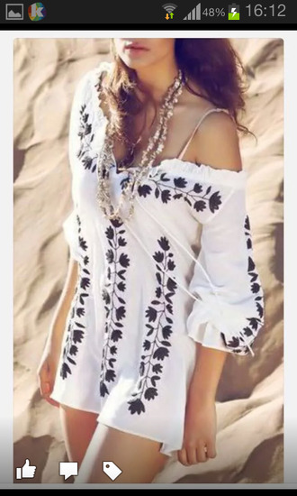 dress top trendy white summer cute stylish fashion black and white style beach off the shoulder rose wholesale-feb hot rose wholesale-ma cover up