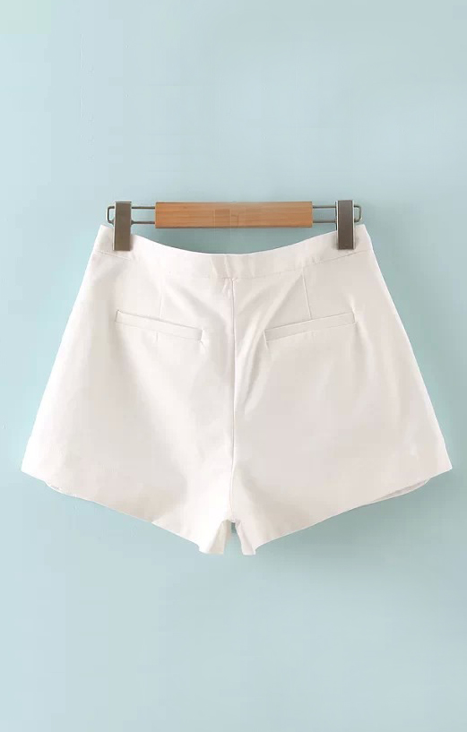 Flowers Printing Fashion White Chiffon Shorts
