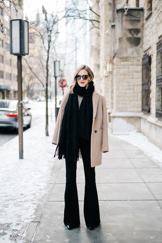 see jane blogger beige coat black scarf black pants sunglasses