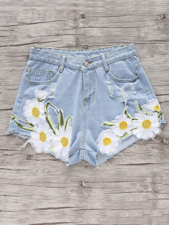 shorts blue fashion daisy flowers floral denim jeans ripped jeans zaful