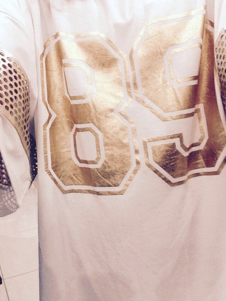 t-shirt ice gold 89 white overized gold mesh cardigan