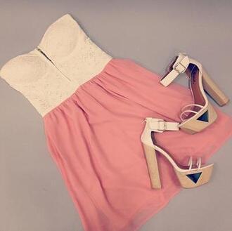 dress cute pink corset dress shoes heels high heels white summer platform shoes platform heels mini dress pastel pink