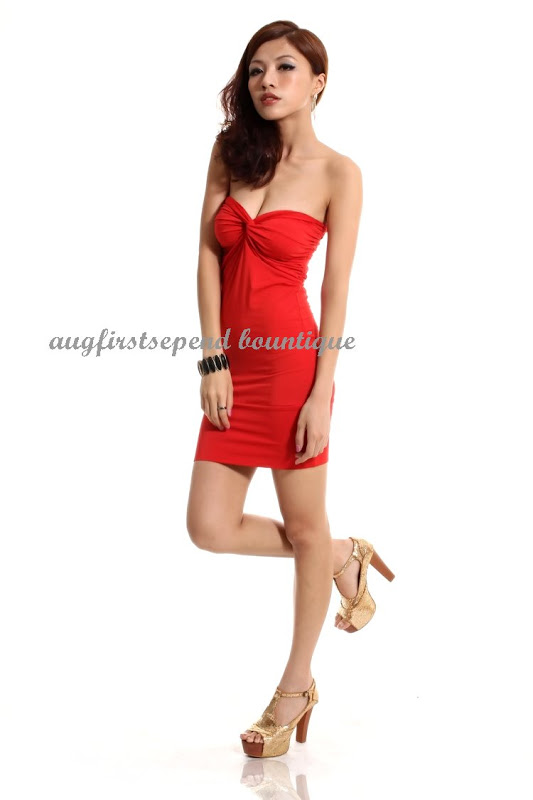 New Womens Knot Bandeau Wrapped Bodycon Strapless Red Skintight Party Mini Dress   eBay