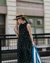 hat,hatd,straw hats,sunglasses,dress,polka dots