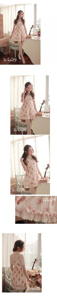 dress girly floral dress japanese chinese ruffle spagetti staps dresses