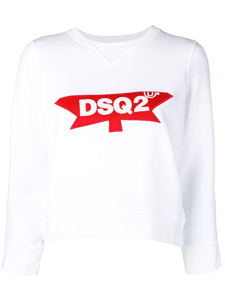 Dsquared2 - logo sweatshirt - women - Cotton/Spandex/Elastane - L, White, Cotton/Spandex/Elastane