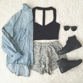 shorts,crop tops,black crop top,bralette,bralette tops,bralette bra crop top blak,bralette top,bralette set,bralette black,converse,black converse,denim jacket,denim jacket vintage coat,sunglasses,sunnies,style,trendy,cute,summer,cool,tumblr outfit,tumblr clothes,tumblr,denim,girl,swag,edgy,casuals,casual,instagram,pretty,beautiful,authentic,cropped,clothes,gorgeous,blogger,fashionista,chill,rad,on point clothing,shoes,leggings,cardigan,pants,top,dress,blouse