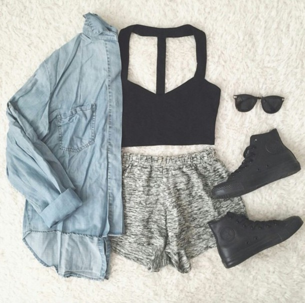 shorts crop tops black crop top bralette bralette tops bralette bralette bralette bra crop top blak bralette top bralette set bralette black converse black converse denim jacket denim jacket vintage coat denim jacket sunglasses sunnies style style trendy trendy cute summer cool tumblr outfit tumblr clothes tumblr denim girl swag edgy casuals casual instagram pretty beautiful authentic cropped clothes gorgeous blogger blogger blogger fashionista fashionista chill rad on point clothing shoes leggings cardigan pants top dress blouse