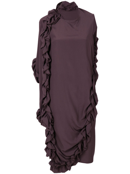 dress ruffle women silk brown