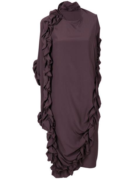 MARNI dress ruffle women silk brown