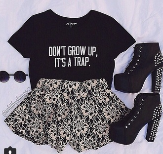 t-shirt dont grow up its a trap grow up quote on it childhood shirt top tank top black quote croptop growing up fashion style trap cute clothes girl and closet girly casual funny funny quote shirt funny t-shirt funny shirt shoes dress black t-shirt