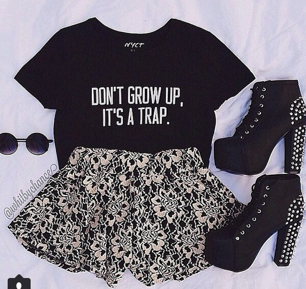 t-shirt dont grow up its a trap grow up quote on it childhood shirt top tank top black quote on it quote croptop growing up fashion style trap cute clothes girl and closet girly casual funny funny quote shirt funny t-shirt funny shirt shoes dress