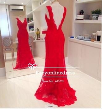 dress red dress openback dress sleeveless dress vneck dress prom dress red lace dress redlace
